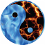 Ying Yang fire and ice sticker