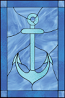 Faux stained glass window cling nautical anchor