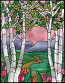 Faux stained glass window cling flowers mountains trees valley