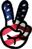 Peace symbol American Flag sticker