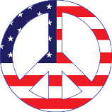American Flag peace symbol sticker